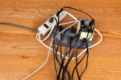 Multiple power strips plugged into each other