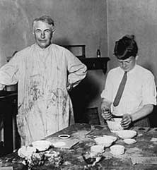 Thomas and Theodore Edison working in the family lab