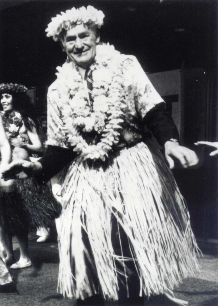 Sam Walton makes good on his promise to hula on Wall Street.