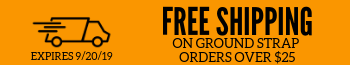 Free Shipping on ground strap orders of $25
