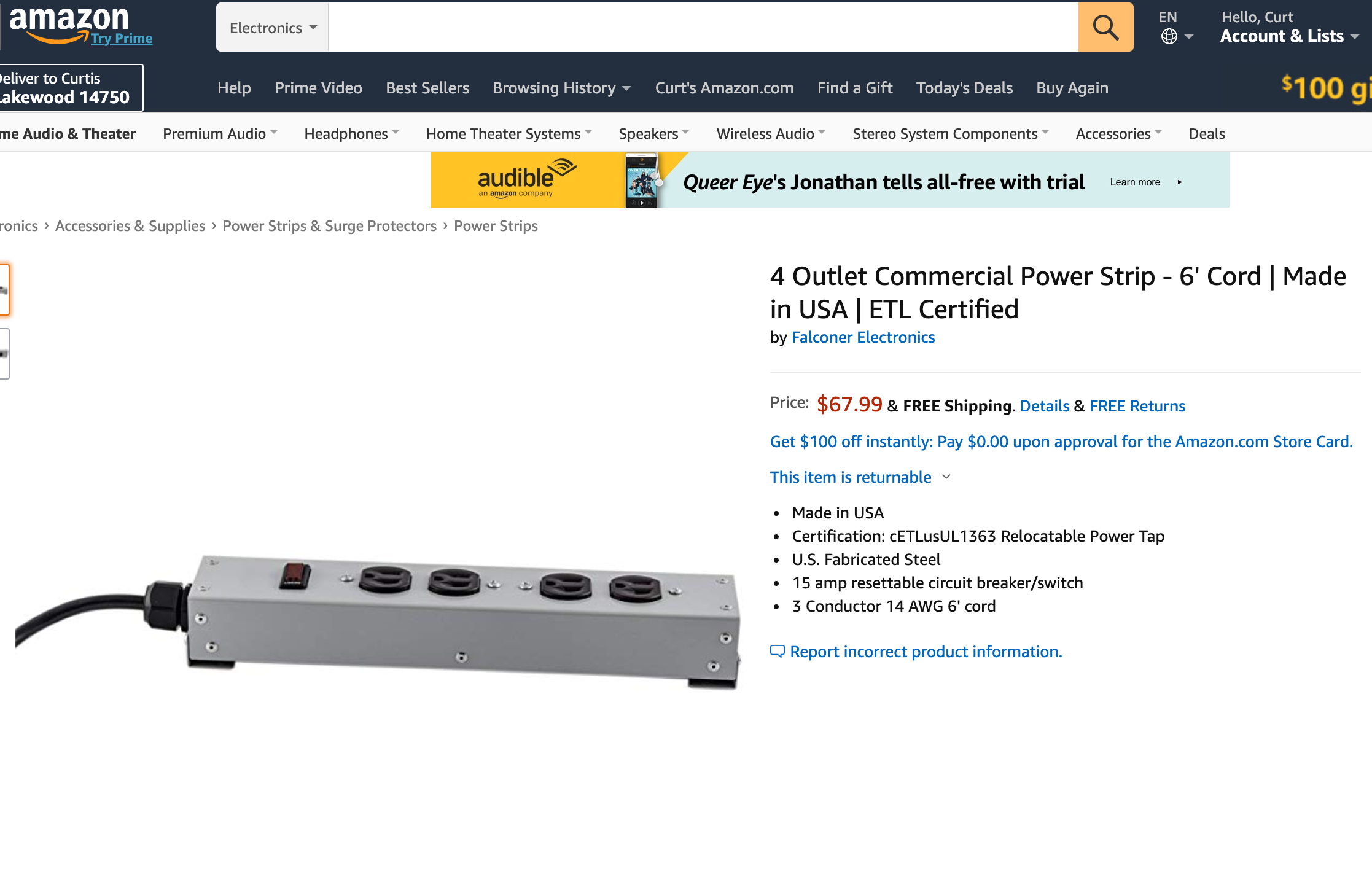 Commercial Power Strips on Amazon