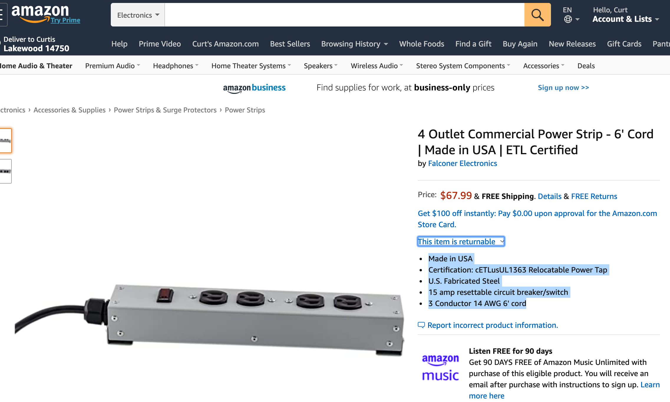 Power Strips on Amazon, Falconer Electronics Commercial Power Strips on Amazon * Made in USA