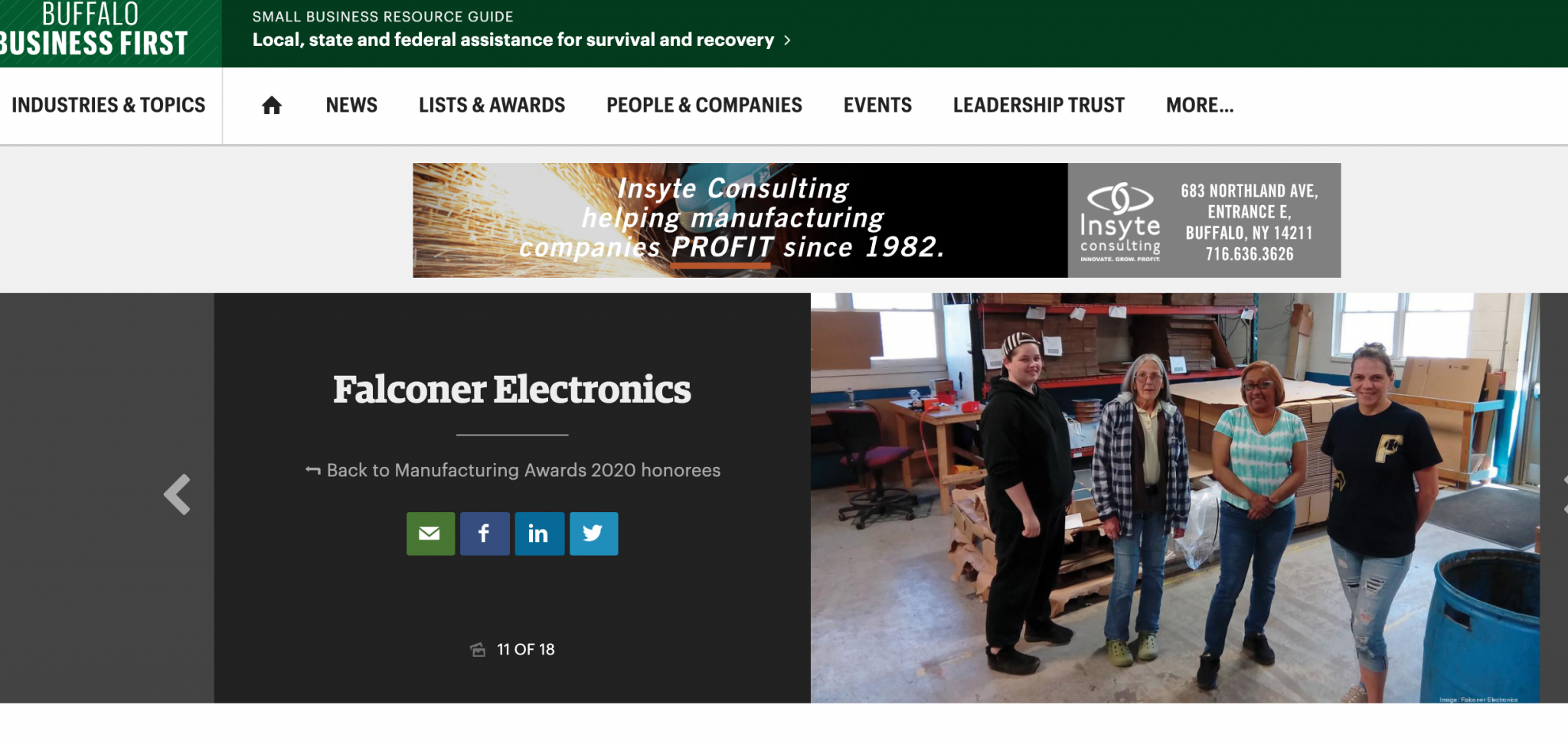 """Buffalo Business First, Falconer Electronics Wins """"Innovative Manufacturer of the Year"""" at Buffalo Business First"""