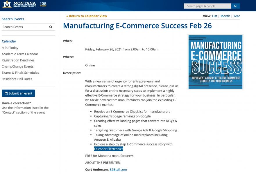 Montana MEP, Montana MEP Offers eCommerce Workshop Featuring Falconer Electronics