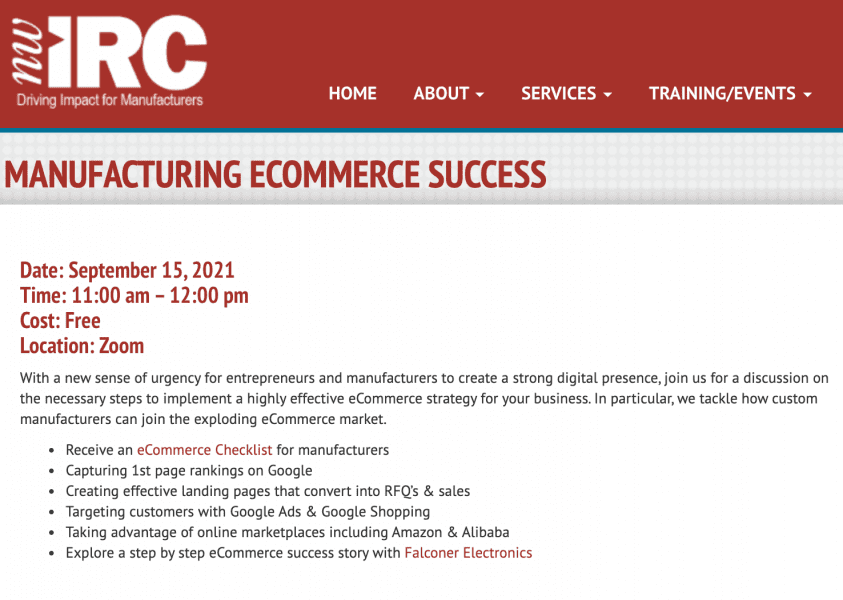 NWIRC, NWIRC & IMC Offer eCommerce Webinar Featuring Falconer Electronics